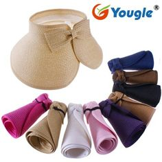 Yougle Fashion Girl Lady Beach Sun Visor Foldable Roll up Wide Brim Straw Hat Cap Free Shipping (Purple C9) (519521535286) Fashionable, Trendy and Easy to carry. Color: 10 Colors for you to choose     Brim length: 13.5cm Size: One size fits for most adult, adjustable    Weight: 160g Estimated head circumference: 54 to 58cm Package Includes: 1Pcs Wide Brim Straw Beach Sun visor Hat