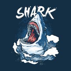 'Shark is hungry' T-Shirt by Kikkot Costume Halloween, Caricature, Shark Logo, Butterfly Background, Butterfly Watercolor, Hai, Halloween Disfraces, Shark Week, Backgrounds Free
