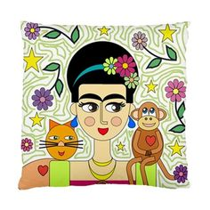 Monkey and Pussy Cat Love Frida Kahlo Art Cushion Cover in Home & Garden, Home Décor, Cushions, Decorative Pillows | eBay