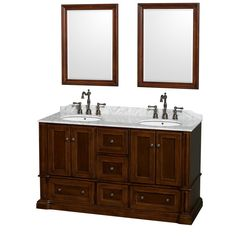 Rochester 60 inch Double Bathroom Vanity, White Carrera Marble Countertop
