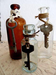 Three Vintage Medicine Bottles With Skeleton Keys by tuscanroad