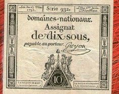 Assignat 10 sols livres 1793 ( - France revolution bill banknote vintig original old - 220 year old 2 type nice quality French Franc, Letter Games, States In America, French Revolution, Catalogue, Vintage World Maps, Museum, Etsy, January
