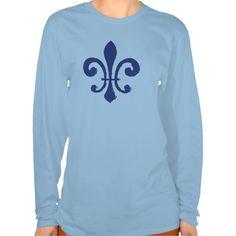 Fleur De Lis Blue Tee Shirts