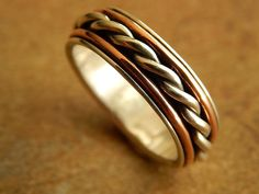 Majestic Silver & Copper Artisan Wedding Band // size 7 1/2 // High Contrast Artisan Design // Save 60% off  Regular Price