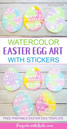 Use stickers to create this gorgeous watercolor easter egg art with kids. Easy watercolor techniques that produce amazing results. So simple and fun for kids of all ages! Free printable easter egg template included. #easter #eastercrafts #watercolorpainting #artprojectsforkids #projectswithkids