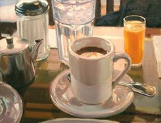 art by Vincent Giarrano Street Painting, City Painting, Painting Still Life, Still Life Art, Paintings I Love, Art Paintings, Coffee And Books, Coffee Art, Coffee Cups