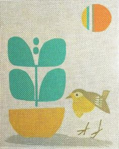 Mid Century Modern Needlepoint Bird's Day Out. An easy needlepoint project for a beginner.