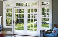 French door, white with the grey walls, very good contrast! For the back of the living room wall