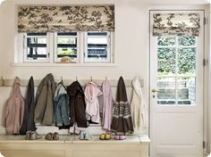 Mudroom...I like the idea of lots and lots and lots of hooks all in a row!
