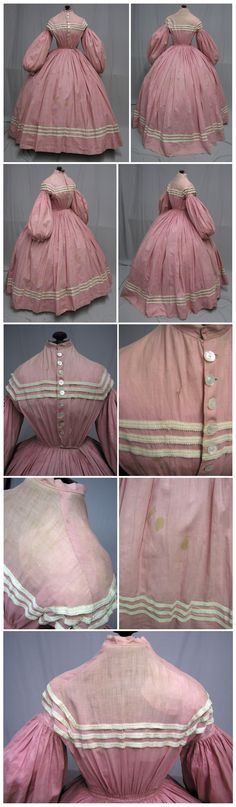 1860's Pink Cotton Daytime Ensemble. Ebay: svpmeow1