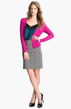 Halogen® Ponte Pencil Skirt, V-neck Cardigan, & Ruffled Zip-front Tank #Nordstrom #AugustCatalog