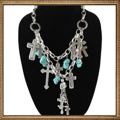 I want this!!! Im into jewelry that have crosses. Turquoise and Crosses Necklace. Cowgirl Style.