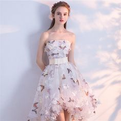 Strapless Pleat Lace Up High-low Asymmetry Vintage Elegant Flowers Taffeta Prom Gown Dancing Party Prom Dresses Grad Dresses, Event Dresses, Prom Party Dresses, Short Dresses, Homecoming Dresses High Low, Pretty Dresses, Beautiful Dresses, Short Prom, Strapless Dress Formal