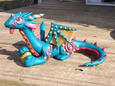 Saphiro Polymer Clay Dragon by GentleCreatures on Etsy, $40.00