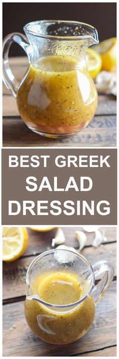 Greek Salad Dressing - With perfect hint of lemon, garlic, and spices, this Greek Vinaigrette will make you want to eat mo - Greek Vinaigrette, Vinegrette Salad Dressing, Cooking Recipes, Healthy Recipes, Healthy Greek Recipes, Cooking Tips, Greek Salad Recipes, Lemon Recipes, Cooking Classes