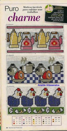 Anaide Ponto Cruz: Gráficos em ponto cruz para pano de prato.