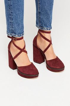 Remi Platform - Maroon Suede Platform Heels with Criss Cross Straps Cute Shoes, Me Too Shoes, Free People, Martens, Platform High Heels, Golf Shoes, New Shoes, Women's Shoes, Shoes Sneakers
