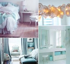Pretty rooms in light turquoise and white
