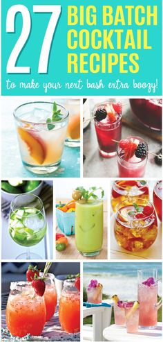 27 Big Batch Cocktail Recipes to Make Your Next Bash Extra Boozy - Cocktails - Party Low Calorie Cocktails, Easy Cocktails, Summer Cocktails, Vodka Cocktails, Party Drinks Alcohol, Alcoholic Beverages, Alcoholic Punch, Batch Cocktail Recipe, Cocktail And Mocktail