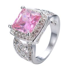Romantic Pink Square Zircon Stone Rings For Women White Gold Filled Love Jewelry Party Wedding Band Heart Style Ring Anel RW0860  Price: US $19.98  Sale Price: US $9.99  #dressional