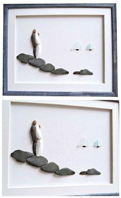 #weddinggift #weddinggiftideas #weddingart #beachwedding #pebbleart #stoneart #seaglassart #weddingpebbleart #weddingseaglassart #giftforweddingcouple #bridalshowergift #weddingcouple #etsshopping #shopetsy #pebbleartdream