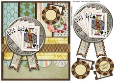 Aces High on Craftsuprint designed by Diane Hannah - Aces High, fast and easy to make. A great card for a male, especially those who love to play cards! The sheet includes decoupage elements and text tags. - Now available for download!