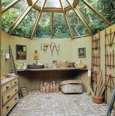 Painted Garden Sheds, Garden Shed Interiors, Interior Garden, Cob House Interior, Yurt Interior, Cottage Garden Sheds, Greenhouse Interiors, Airstream Interior, Interior Doors