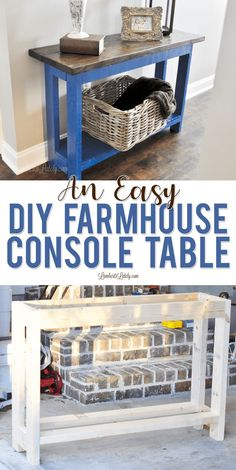 An Easy DIY Farmhouse Console Table Find easy plans for a DIY farmhouse console table in this post, complete with ways to style an entry table.<br> Find easy plans for a DIY farmhouse console table in this post, complete with ways to style an entry table.
