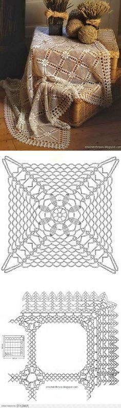 ideas crochet lace tablecloth place mats for 2019 Crochet Motifs, Crochet Blocks, Crochet Diagram, Crochet Chart, Crochet Squares, Thread Crochet, Filet Crochet, Crochet Doilies, Crochet Lace