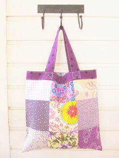 Shopping bag small tote bag patchwork shopper by poppyshome