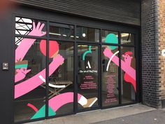 Alex Tait has a simple but distinct style and finds his inspiration in nature – zoology to be more specific Wayfinding Signage, Signage Design, Facade Design, Window Mural, Window Signage, Environmental Graphics, Environmental Design, Window Stickers, Window Decals
