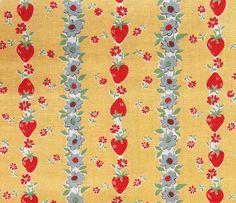 Atsuko Matsuyama Strawberry and Flower Stripe Yellow by ayumills, ¥400