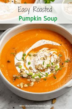 Roasted Pumpkin Soup - An easy vegetarian soup recipe that's wholesome, delicious and a perfect side dish the whole family can enjoy.  Full of flavor, filling, and satisfying. #pumpkin #vegan #vegetarian #pumpkinsoup #fall #soup via @healthyfitnessmeals Roasted Pumpkin Soup Recipe, Vegan Pumpkin Soup, Roast Pumpkin Soup, Canned Pumpkin Recipes, Pumpkin Puree, Vegetarian Soup, Vegetarian Recipes, Healthy Recipes, Healthy Soups