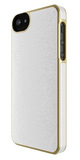 White Leather with Gold Rim Wrap iphone 5 Case