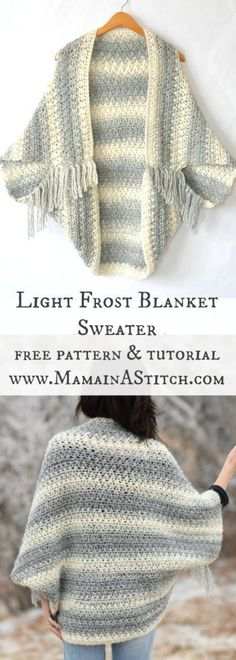 This easy and beautiful, free crocheted blanket sweater cacoon is made with self striping yarn and is perfect to take off the chill! #freepattern #crochet #crafts