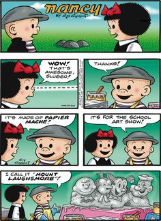 A wonderful tribute.   Read Nancy #comics @ www.gocomics.com/nancy/2015/03/29?utm_source=pinterest&utm_medium=socialmarketing&utm_campaign=social_pin_crossover_peanuts65   #GoComics #webcomic #CharlieBrown #Peanuts