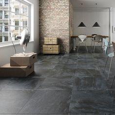 Nature Black Slate Floor Tile Room