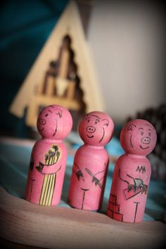 Three Little Pigs peg doll setmade to order by HandsOnFun on Etsy, $18.00