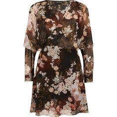 River Island Black floral print wrap front mini dress ($100) ❤ liked on Polyvore featuring dresses, black, swing dresses, women, long-sleeve mini dress, long sleeve swing dress, mini dress, long sleeve dresses and wrap dresses