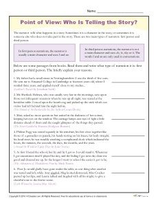 Point of View. Free, printable point of view worksheet designed for 4th and 5th grade students. Students read a short passage and choose the type of narration. Click here!