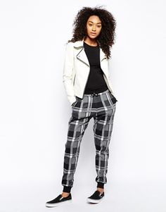 Plaid harem pants, white jacket, sneaks - ASOS Joggers in Check
