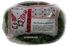 Geschenkverpackungen - Kissen Weihnachtswichtel mit Spruch - Text  - Vers - ein Designerstück von antjesdesign bei DaWanda