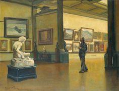 Pinacoteca do Museu de Belas Artes no Rio de Janeiro, 1945  Edgar Walter (Brasil,  1917-1994)  Óleo sobre tela, 90 x 117 cm