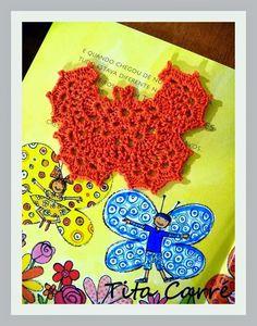 Borboleta e flores em crochet colorindo o BLOG