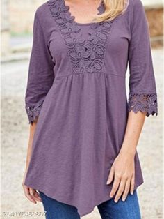 Asymmetric Hem Decorative Lace Plain Half Sleeve Blouses - berrylook.com Lace Top Dress, Blouse And Skirt, Blouse Styles, Blouse Designs, Clothing Patterns, Dress Patterns, Abaya Fashion, Fashion Outfits, Sparkly Outfits