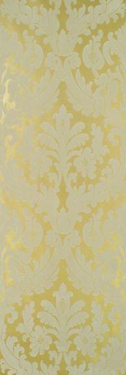 Trefoil Flock Wallpaper A grand damask design in cream flock on gold background