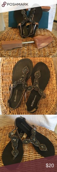 BCBGenertation jeweled sandals. Super cute & Fun you will loves these. Slightly used but in like new condition! Pewter color Jeweled Sandler. Size 6 BCBGeneration Shoes Sandals