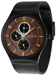 Skagen Men's SK806XLTBD Titanium Brown Dial Watch Skagen. $125.00. Titanium case. Durable mineral crystal protects watch from scratches. Quartz movement. Water-resistant to 99 feet (30 M). Case diameter: 41 mm