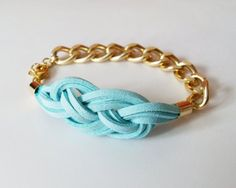 DIY Jewelry: Mint Knot Chain Bracelet  Turquoise Suede Sailor Knot Bracelet with Gold Color