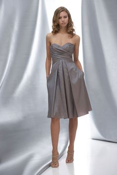 Sweetheart taffeta bridesmaid dress with dropped waist. Love the dress and the color!